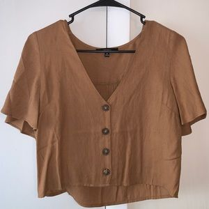Brown, button down Forever 21 tshirt